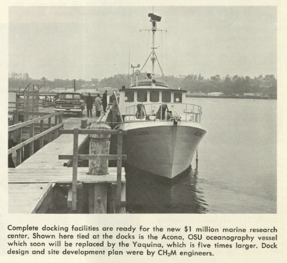 "Clipping from CH2M magazine. OSU Research Vessel ""Acona"" in dock at Yaquina Bay, where HMSC will be built. 1965"