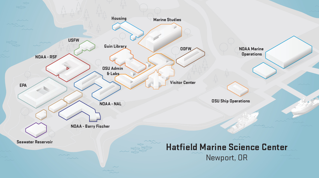 map of the HMSC campus in Newport, Oregon