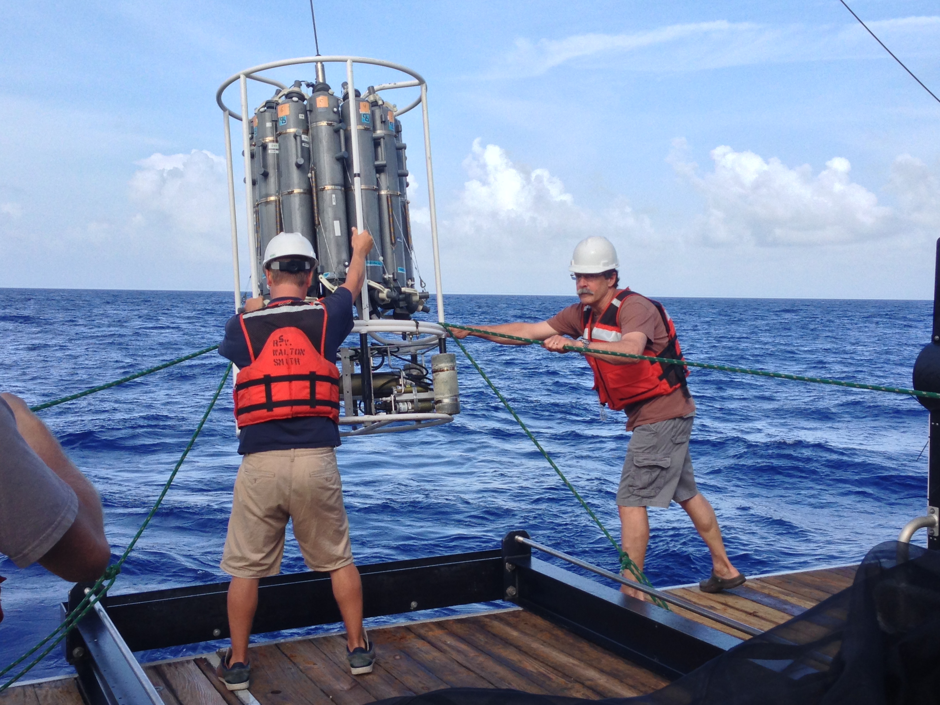 Dr. Bob Cowen and Cedric Guigand deploy the CTD