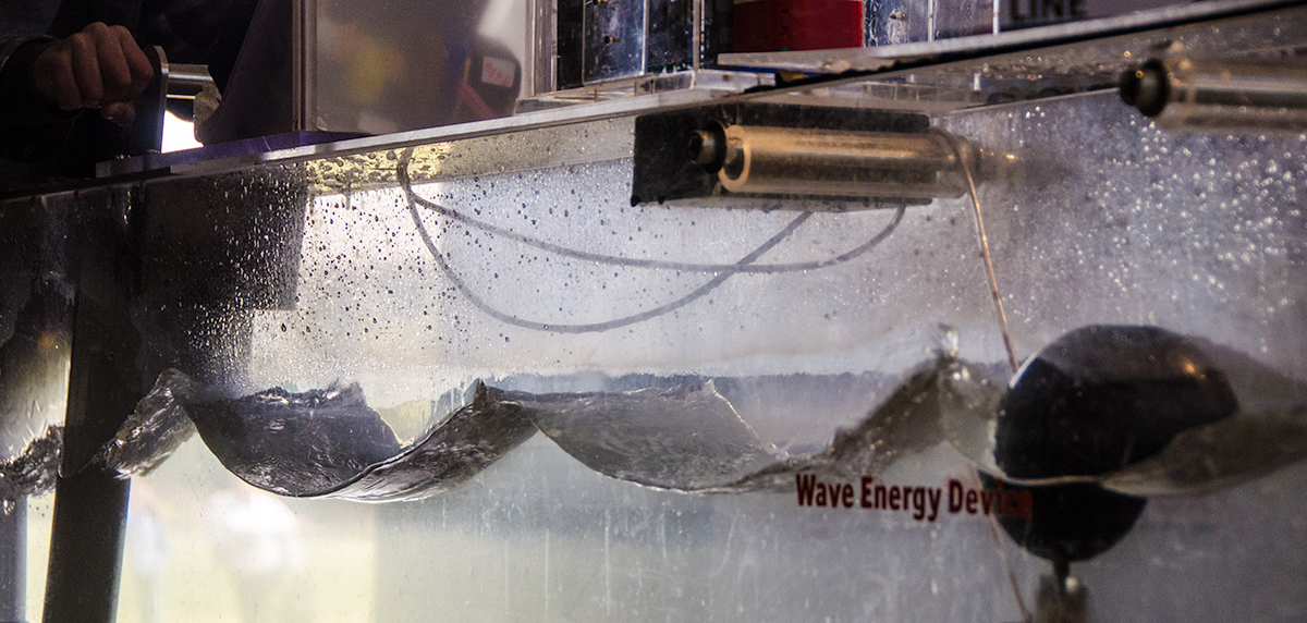 Wave energy exhibit at the HMSC Visitor Center