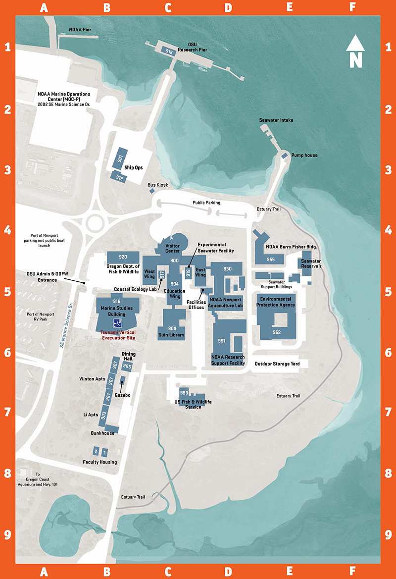 Map of Hatfield Marine Science Center campus in Newport, Oregon