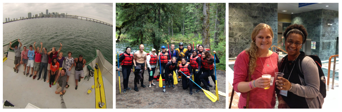 Students in the field, having fun on a rafting trip, and at a conference