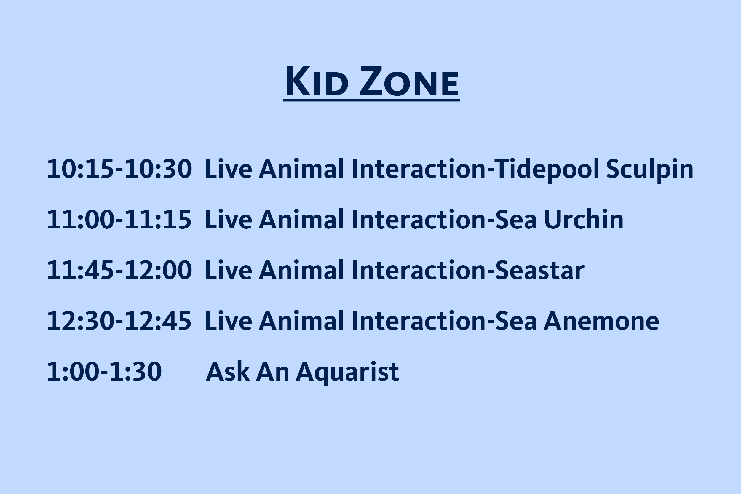 Schedule for the kids zone live events at Marine Science Day