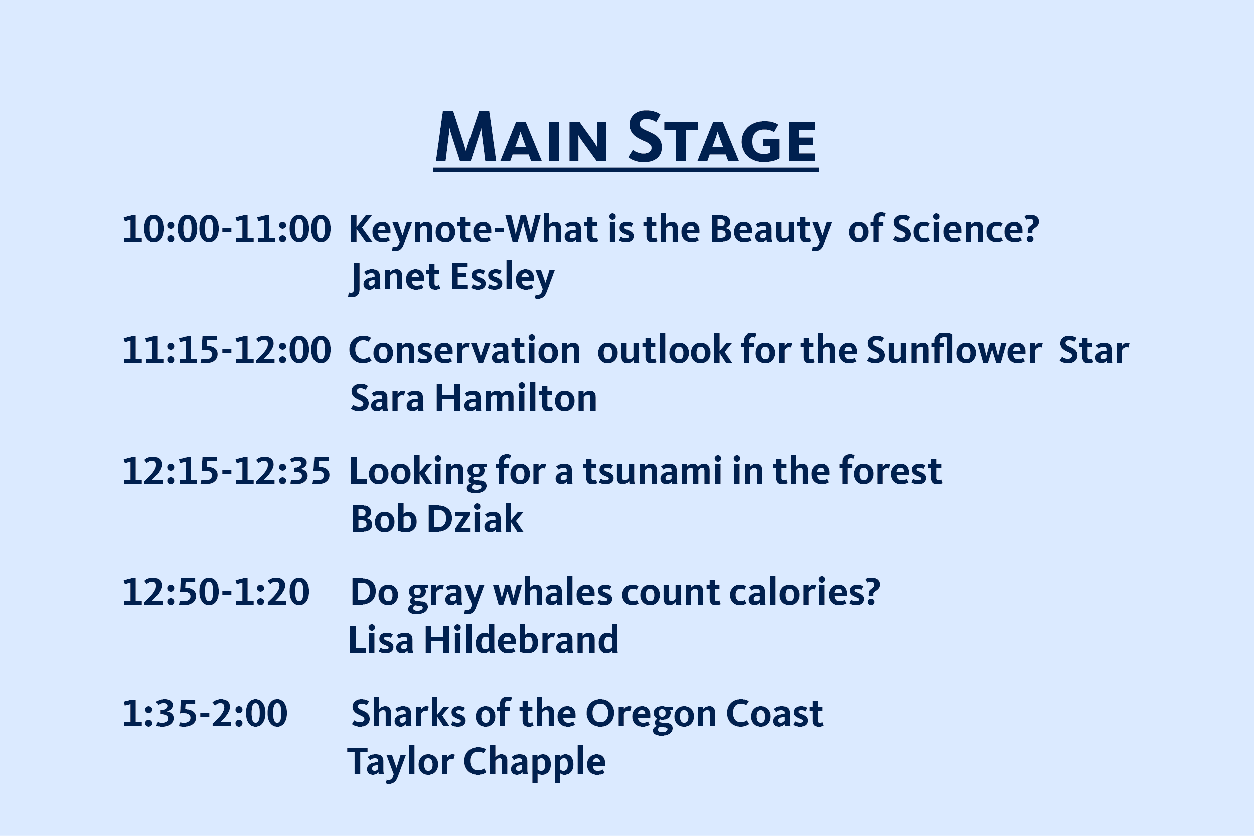 Schedule for the main stage live events at Marine Science Day