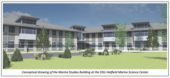 A conceptional drawing of the Marine Science Building in Newport, OR. A large combination of buildings, overlooking a green park/quad area.