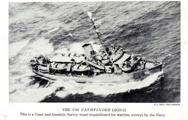 Aerial of ship Pathfinder in rough waters