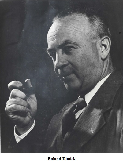 Roland Dimick, an older white man holding a cigar to his mouth. Black and white portrait.