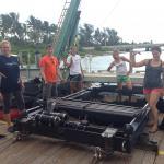 Cowen-Sponaugle Lab members prepare the MOCNESS-4