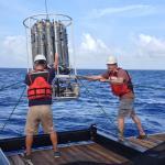 Cedric Guigand (RSMAS) and Bob Cowen (OSU) deploy the CTD rosette.