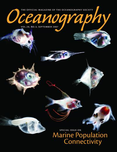 cover of Oceanography magazine with images of different types of plankton.