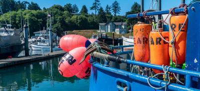 buoys hanging over a boat