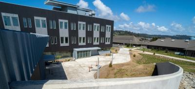 Outside view of the newly constructed Marine Science Building on the HMSC campus in Newport