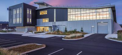 View of HMSC Marine Science Center in Newport at twilight.