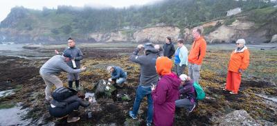Students attending an outdoor marine science class gather near a rocky tide pool and listen to the instructor.