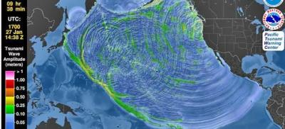 Image map of earthquake and tsunami data from January 1700.
