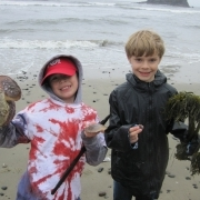 Campers show what they've found on the beach