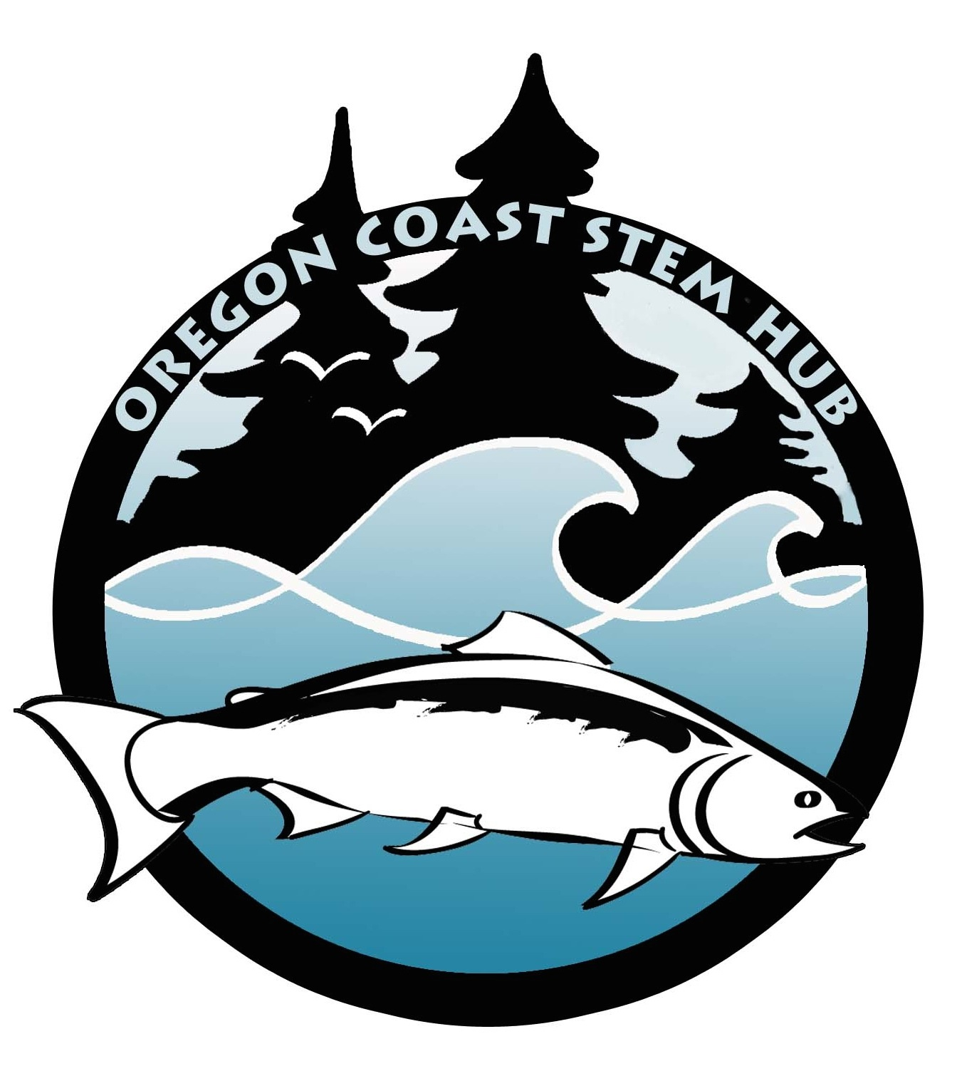 Oregon Coast STEM Hub Logo of a salmon in front of a forest.